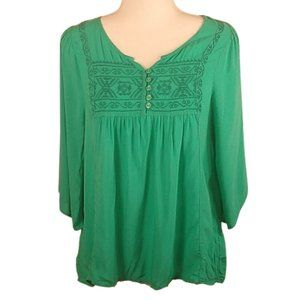 One World Embroidered Three Quarter Sleeve Top
